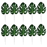 Elisona-10Pcs Artificial Tropical Palm Leaves Imitation Plant Leaves Decoration for Hawaiian Luau Party Jungle Beach Theme Party Home Restaurant Decorative Accessory 15.55inches Length Green