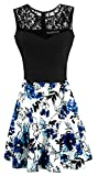 Sylvestidoso Women's A-Line Pleated Sleeveless Little Cocktail Party Dress Black Lace Blue Flowers (M, Black Top)