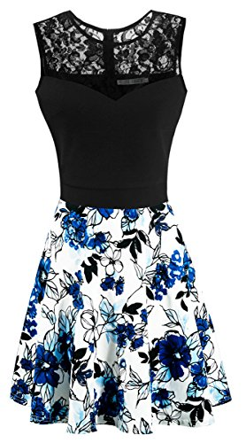 Dresses Spring Junior (Sylvestidoso Women's A-Line Pleated Sleeveless Little Cocktail Party Dress Black Lace Blue Flowers (M, Black Top))