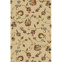 "Kapaqua Rubber Backed 5' x 6'7"" BEIGE Floral Area Rug Non-Slip - Living, Dining, Room, Pet & Kitchen Rug"