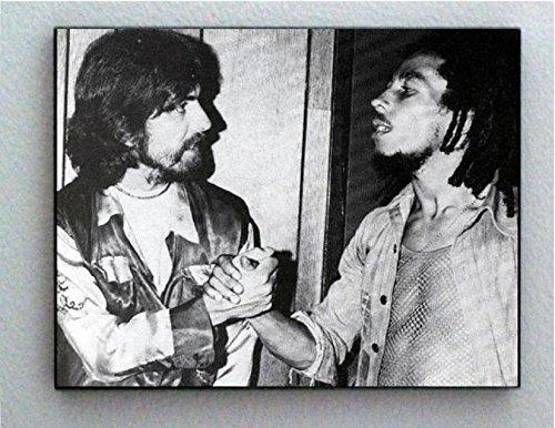 George Harrison Poster - Rare Framed George Harrison with Bob Marley Vintage Photo. Jumbo Giclée Print