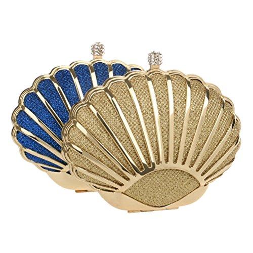 Flada - Cartera de mano para mujer azul azul mediano dorado