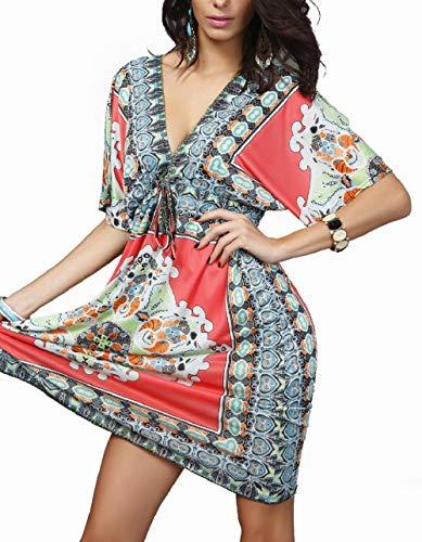 (Summer Dresses for Women Beachwear Beach Cover up Kaftan Sundress (Red Waist Tie, XS-XL))