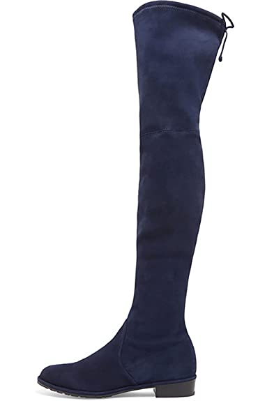 1474d359a3e Jushee Knee High Boots Women s Round Toe Thigh High Over The Knee Boots  Stretch Suede Flat