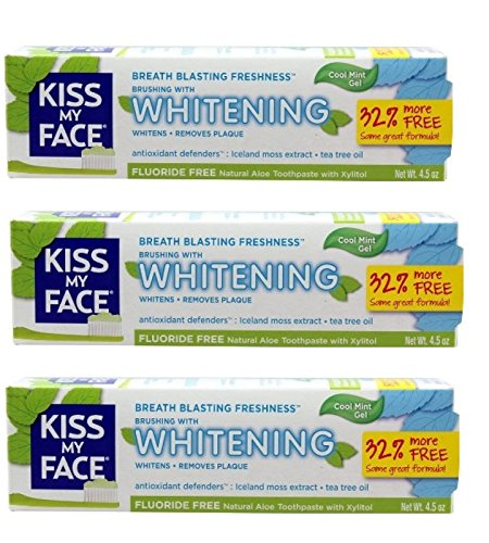 Kiss My Face Gel Teeth Whitening Toothpaste Fluoride Free, SLS Free 4.5 Oz (Pack of 3)