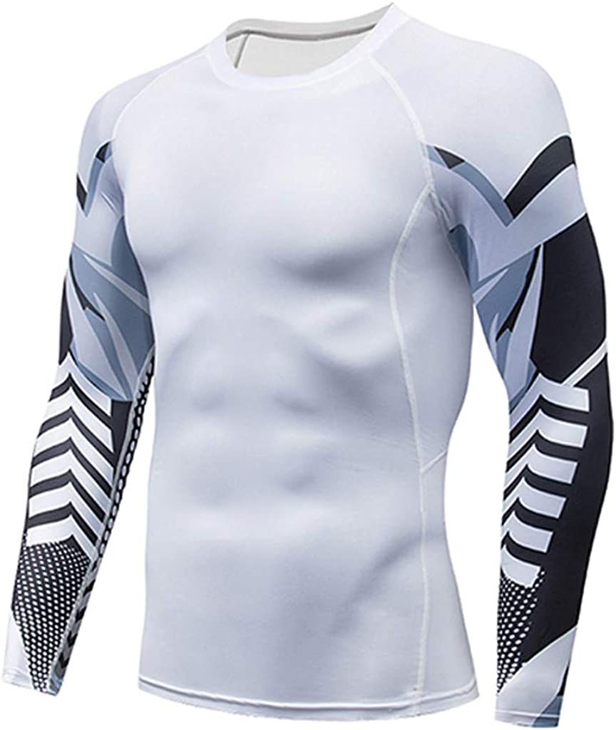 Coverhome 2 Pcs Mens Gym Fitness Suit,Man Compression Tights /& Shirts Set Gym Leggings Fitness Sports Running Yoga Athletic Pants+Shirt Suit,Suit for Workout Skiing Running Hiking White