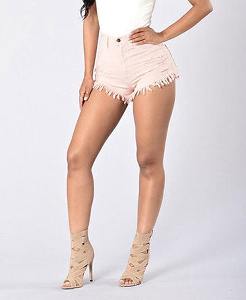 a1b2075a5b6a WanYang Mujer Vintage Verano Pantalones Cortos Denim Moda Cintura Alta Hole  Shorts Vaqueros