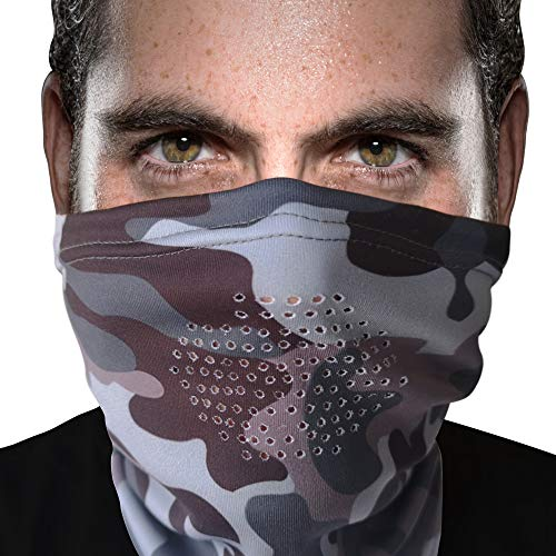 Camo Neck Gaiter with BREATHING HOLES, Spandex Poly Gator Neck Warmer for Men and Women, Adjustable Toggle Keeps Gaitor Up, Camouflage Neck Gaiter Women and Men, Camo Face Mask Gaiters, Gray Brown
