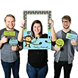 Big Dot of Happiness Blue Monkey Boy - Birthday Party or Baby Shower Selfie Photo Booth Picture Frame & Props - Printed on Sturdy Material