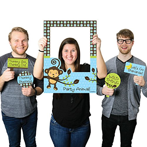 Big Dot of Happiness Blue Monkey Boy - Birthday Party or Baby Shower Selfie Photo Booth Picture Frame & Props - Printed on Sturdy Material ()