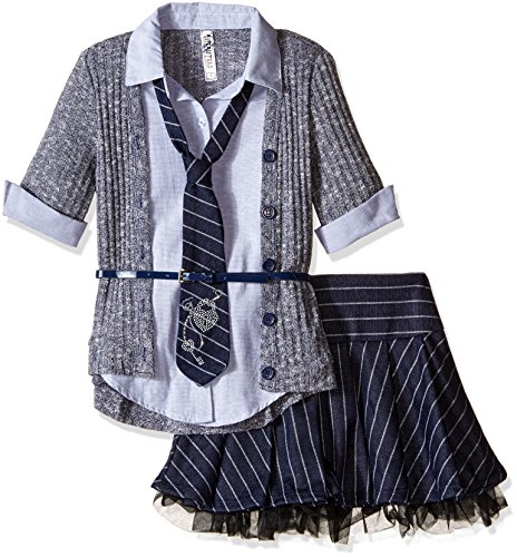 Beautees Big Girls' 2 Piece Collar Cuff with Skirt and Matching Tie, Navy, Medium