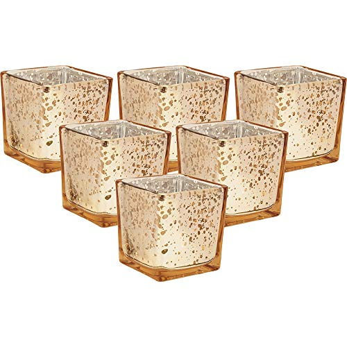 Just Artifacts Mercury Glass Square VotiveCandle Holder 2-Inch(6pcs,Speckled Gold) - Mercury Glass Votive Tealight Candle Holders for Weddings, Parties and Home Décor