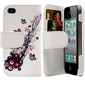 Seluxion - Funda tipo cartera para Apple iPhone 4 y 4S (ranuras para tarjetas, cierre magnético), diseño floral y de mariposas