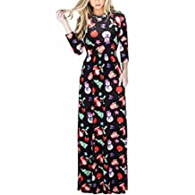 Women Floral Print Sleeveless Boho Dress Ladies Evening Party Long Maxi Dress