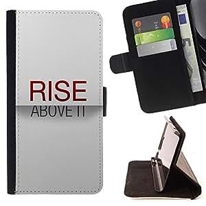 BullDog Case - FOR/HTC Desire 820 / - / rise above it minimalist text stylish red /- Monedero de cuero de la PU Llevar cubierta de la caja con el ID Credit Card Slots Flip funda de cuer