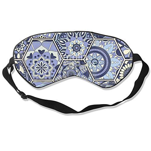 All agree Sleep Mask Bohemian Hexagon Blue Flowers Eye Mask Cover with Adjustable Strap Eyepatch for Travel, Nap, Meditation, Blindfold