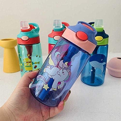 TUOLUO 480ML Kindertasse Babyfütterungsbecher Mit Auslaufsicherem Strohkessel Outdoor Tragbare Kindertasse Lila
