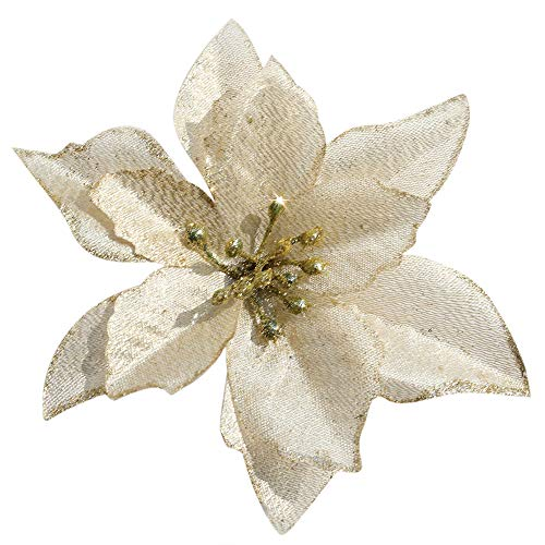- Mobuy Poinsettia Christmas Decorations Glitter Poinsettia Flowers for Christmas Tree Decorations(12Pack)(Gold)
