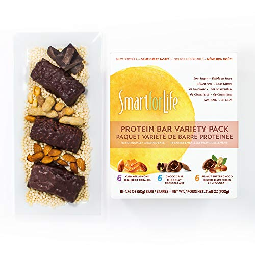 (Smart for Life Low Sugar Protein Bar Variety Pack, Caramel Almond, Chocolate & Peanut Butter Chocolate, 18 Ct (18 CT Variety Pack))