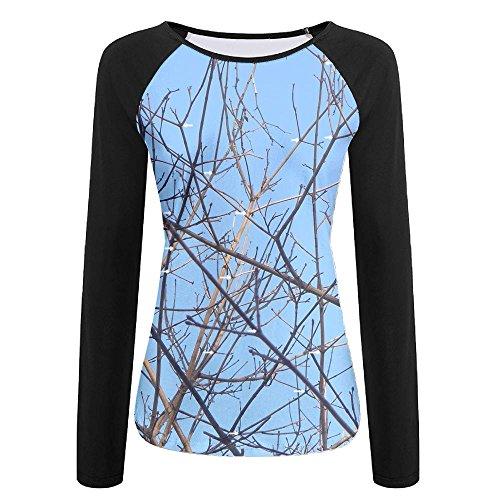Womens Tree Branch Fashion Raglan Long Sleeve Tshirts Soft Quick-dry Pullover Sweatshirt For Sports Jogging Hiking Baseball Jersey Tee Shirt