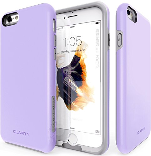 iPhone 6S Case, TEAM LUXURY [Clarity Series] Ultra Defender TPU + PC [Shock Absorbent] Premium Protective Case - for Apple iPhone 6 / iPhone 6S (Purple/ Gray)