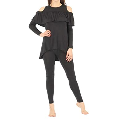 Clicktofashion Women s Ladies Girls Cold Shoulder Frill Ruffle Cut Out  Lounge Set Lounge Wear Suit Available Sizes S M 10d9b8228