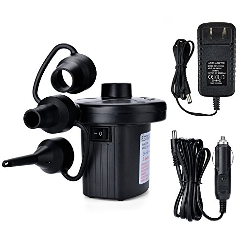 Electric Air Pump, AGPtEK Portable Quick-Fill Air Pump with 3 Nozzles, 110V AC/12V DC, Perfect Inflator/Deflator Pumps for Outdoor Camping, Inflatable Cushions, Air Mattress Beds, Boats, Swimming Ring (Best Air Mattress Inflator)