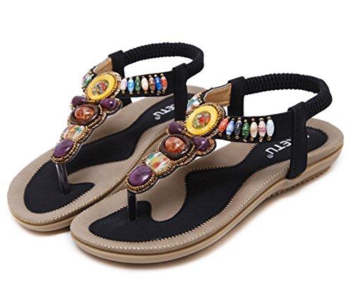 LIANGXIE Nouvelles Sandales Noir ZHHZZ d'été Plage élastiques Plates Sandales Perles Cuir de Femmes r5OxSr