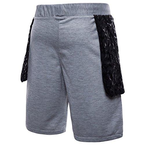 Pantaloncini Gym Uomo paillette con Jogger chiaro Cord Patchwork Training moichien Pantaloni Moda Ai Grigio qSBt8