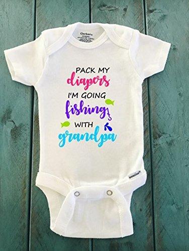 8554e78b4 Amazon.com: Pack my diapers I'm going fishing with grandpa ONESIE ...