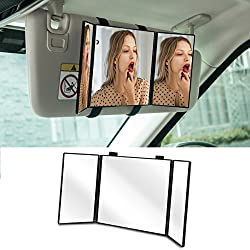 "Huicocy Car Visor Mirror, Makeup Travel Vanity Mirror Car Cosmetic Mirror Clip On Sun Visor Auto Supplies 310mm 12"" Universal for Car Truck SUV Rear View Mirror (12in5.5in, black)"