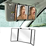 "Car Visor Mirror,Huicocy Makeup Travel Vanity Mirror Car Cosmetic Mirror Clip On Sun Visor Auto Supplies 310mm 12"" Universal for Car Truck SUV Rear View Mirror (12in5.5in, black)"