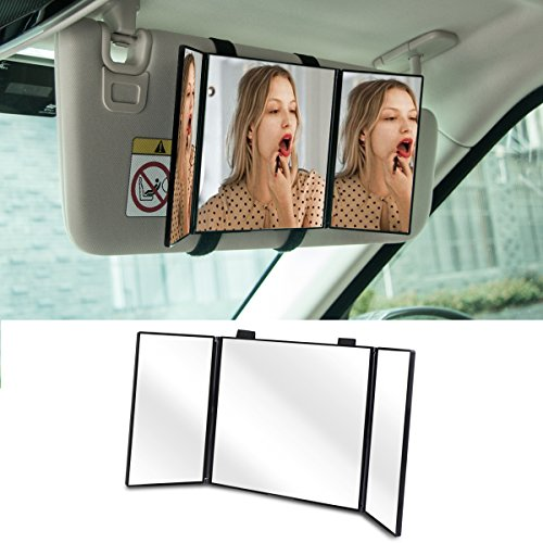 Huicocy Car Visor Mirror, Makeup Travel Vanity Mirror Car Cosmetic Mirror Clip On Sun Visor Auto Supplies 310mm 12