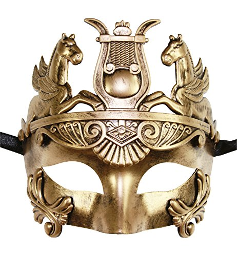 Masculine Greek & Roman Soldier Men Venetian Masquerade Mask (Gold) -
