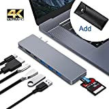 Greenlaw USB C Hub Adapter for MacBook pro 2018/2017/2016, 8 in 1 40Gbps Type C Hub with USB-C 100W Power Delivery, USB C 5Gbps Data, 5K HDMI, microSD/SD Card Reader, 3xUSB 3.0 Ports