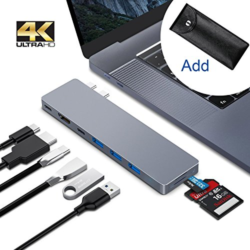 USB C Hub Adapter for Macbook pro 2018/2017/2016, 8 in 1 40Gbps Type C Hub with USB-C 100W Power Delivery, USB C 5Gbps Data, 5K HDMI, microSD/SD Card Reader, 3xUSB 3.0 Ports by Greenlaw by GreenLaw