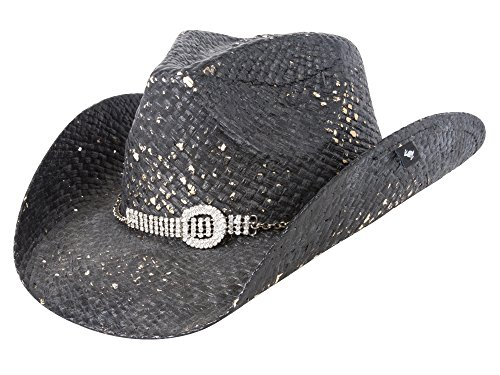 Peter Grimm Ltd Women's Prelude Straw Cowgirl Hat Black One Size Distressed Straw Cowboy Hat