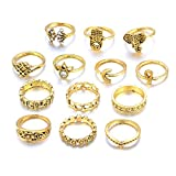 UHANGETH 13pcs Retro Rings Hollow Carved Flowers Joint Knuckle Rings Sets (Gold)