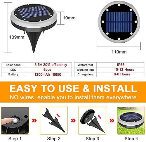 Solar Boden Lichter - Verbesserte 8 LEDs Warmweiß Draussen Solar Bürgersteig Scheibe Lichter , Wasserdicht Landschaft Im Boden Licht für Rasen Terrasse Weg Hof Deck Gehweg Flutlicht (4 Packungen)