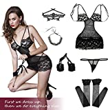 Sexy Floral Lace Women's Lingerie Set - Includes Handcuffs, Stockings, Eye Mask, G-String and Necklace Miniskirt Bodysuit Black L