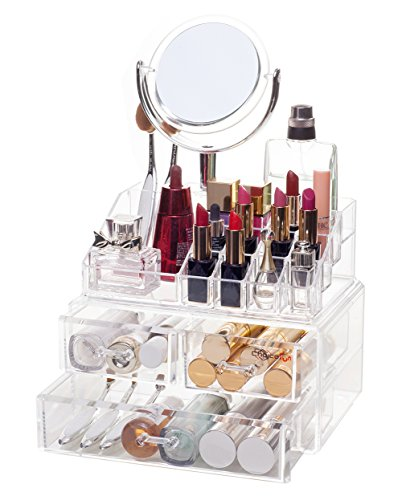 Acrylic Makeup Organizer with Mirror 3 Deep Drawers 15 Top Compartments Choice Fun Transparent (Plastic Transparent Mirror)