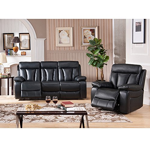 Sofaweb.com Vedder Black Top Grain Leather Power Motorized Lay-flat Reclining Sofa, and Recliner