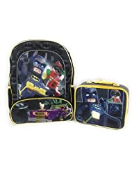 Lego Batman Robin 16 Backpack Insulated Lunchbox Joker Mesh Sides Reflective Strips Padded Shoulders 2 Piece...