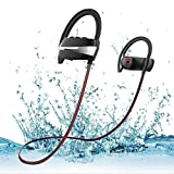 Bluetooth Headphones by Blobfish Wireless Headset Earphones Earbuds with Mic IPX7 Waterproof/Sweatproof HD Sound Incredible Bass Noise Isolation Sports Gym Workout Running Long Battery Life