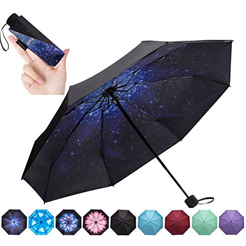 NOOFORMER Mini Travel Umbrella -95% Anti-UV Lightweight Compact Small Folding Sun Umbrellas -8Ribs (Good Umbrella Cheap)