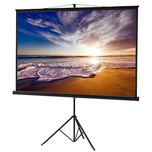 Delux Screens 120″ 4:3 (Sale) Projector Screen with Stand, Indoor Outdoor Movie Projection Screen 4K HD with Wrinkle-Free Design (Easy to Clean, 1.2 Gain, 160° Viewing Angle Hung) USA Based Seller
