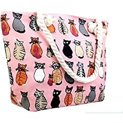 Canvas Tote Bag - Shoulder Tote, Perfect for School, Work, or the Beach. Large Compartment - Cats Theme, 17 x 12 (Pink)