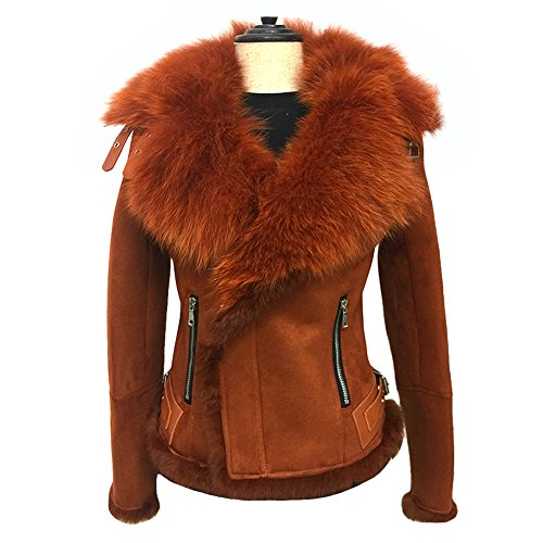 Genuine Suede Leather Skirt - She'sModa Celeb Real Fox Fur Lapel Suede Leather Jacket With Thick Fleece Women's Winter Coat Moto Jacket M Caramel