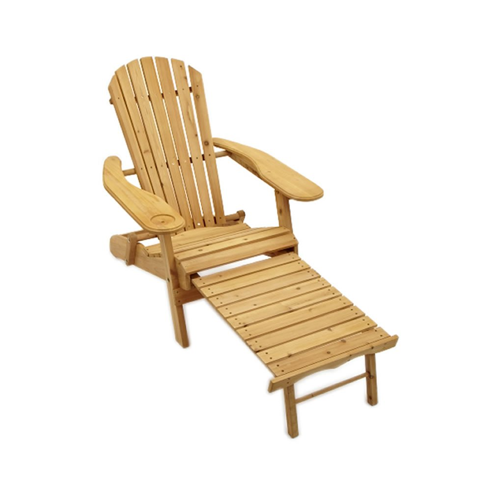 Trueshopping Garden Patio Adirondack Newby Arm Chair With Slide Away Leg  Rest Natural Wood Finish Outdoor Or Indoor Use: Amazon.co.uk: Garden U0026  Outdoors