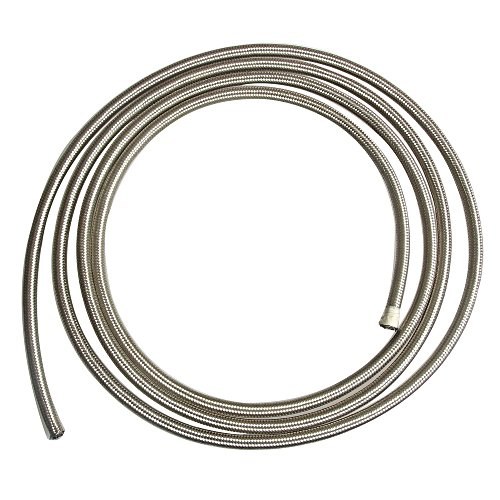 SUNROAD 6AN 5Feet Universal Stainless Steel/Nylon Braided Fuel Oil Line Hose-Silver 6an Stainless Braided Hose